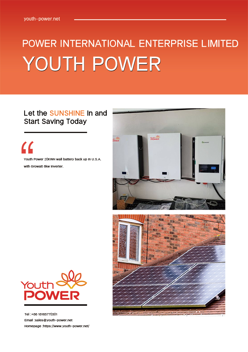 Youth Power 20KWH wall battery back up in U.S.A. with Growatt 6kw inverter