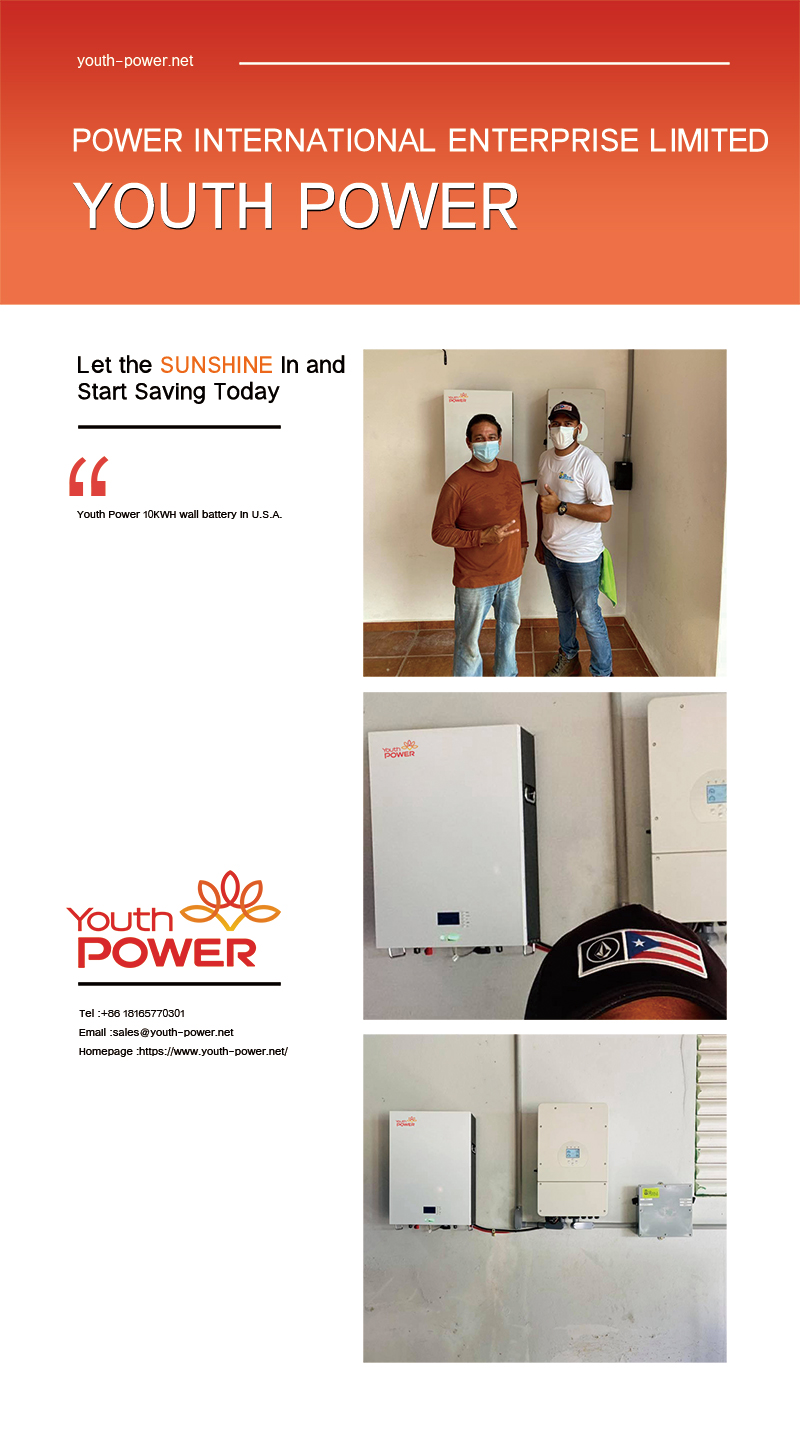Youth Power 10KWH wall battery in U.S.A.